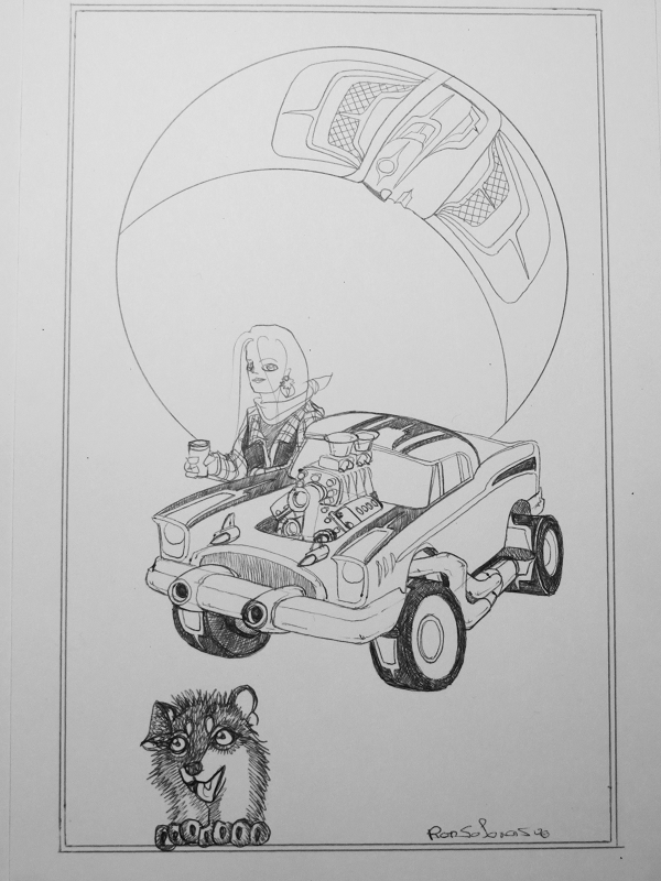 Woman Angel w Car & happy wolf