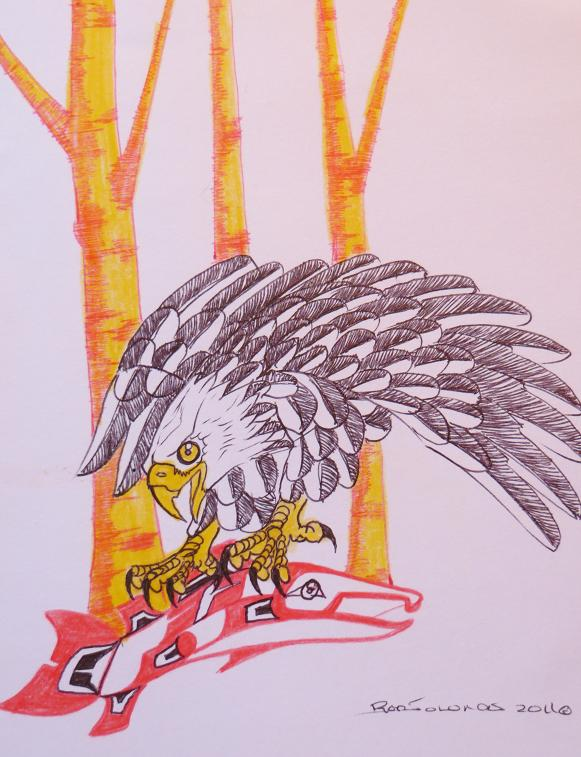 eagle capturing salmon-yellow birch